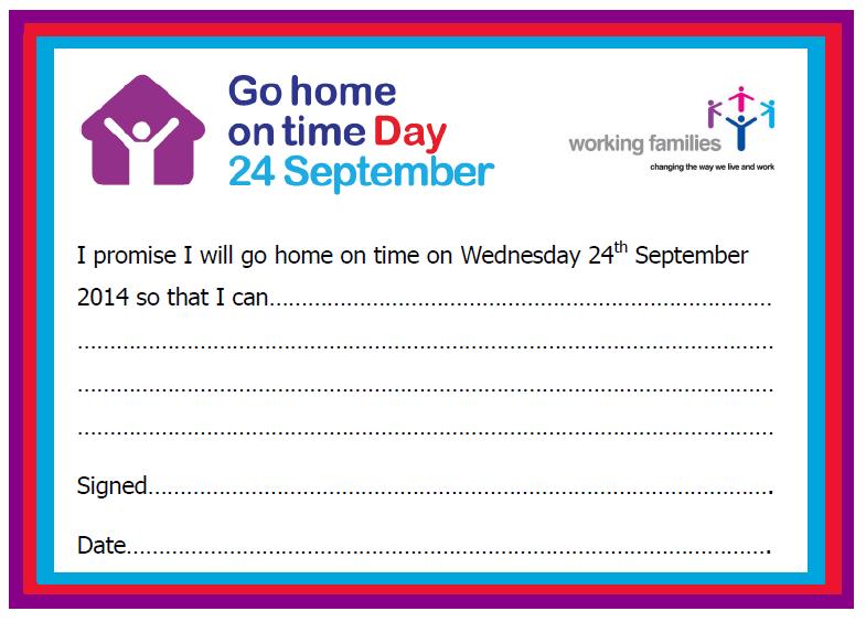 英國2014 go-home-on-time-day是9月24日,還發出寫下當天一定準時下班的承諾卡。