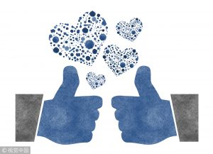 Two thumbs up with watercolor hearts on a white background
