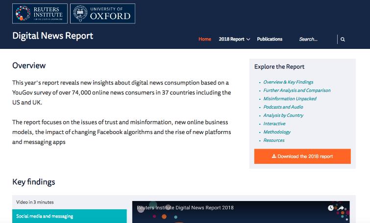 《2018年路透數位新聞報告》網站呈現