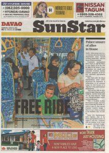 Davao 當地的報紙對於新公車車系展示給予高度重視