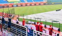 """疫情肆虐下,唯有台湾职棒独步全球""""闭门开赛""""。 图片来源:CPBL 中华职棒脸书专页。"""